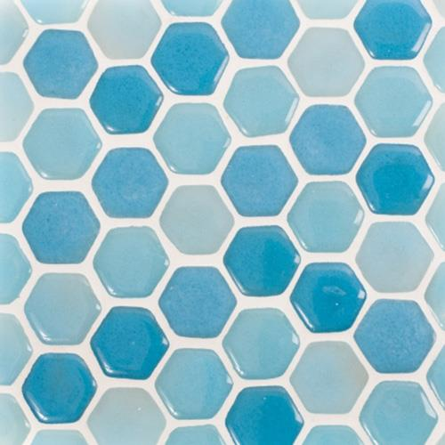 Blue Hexagon Mosaic Tiles