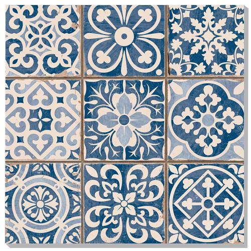 Blue Patterned Porcelain Floor Tiles