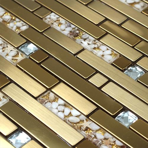 Golden Strip Mosaic Tiles