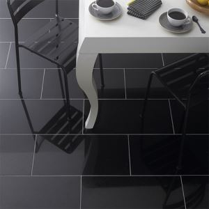 Black Polished Ceramic Floor Tiles