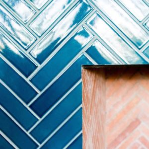 Blue Herringbone Mosaic Tiles