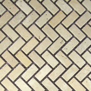 Cream Herringbone Mosaic Tiles