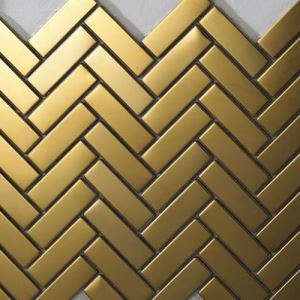Golden Herringbone Mosaic Tiles