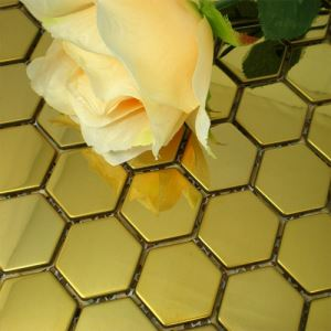 Golden Hexagon Mosaic Tiles