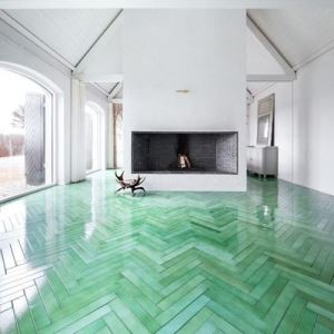 Green Herringbone Mosaic Tiles