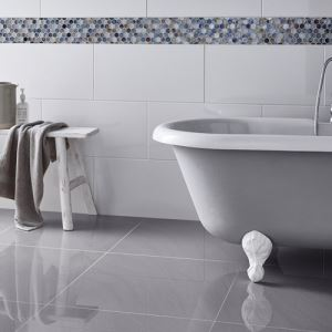 Grey Gloss Porcelain Floor Tiles