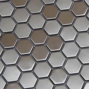Silver Hexagon Mosaic Tiles