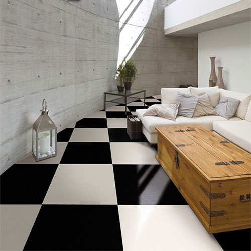 Polished Black and White Porcelain Floor Tile