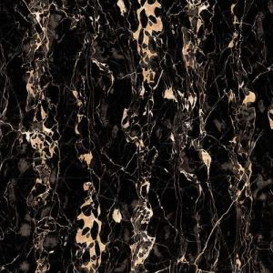 Black Marble-Look Floor Porcelain Tile