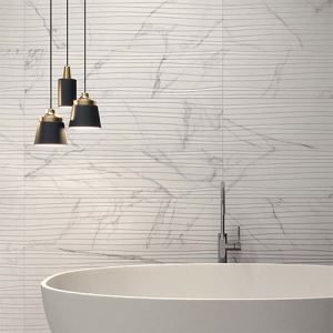Saw-Pulled Surface Marble-Look Wall Porcelain Tile