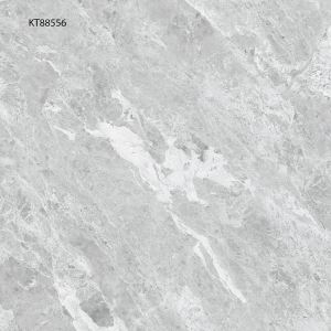 Grey Polished Marble-Look Floor Porcelain Tile